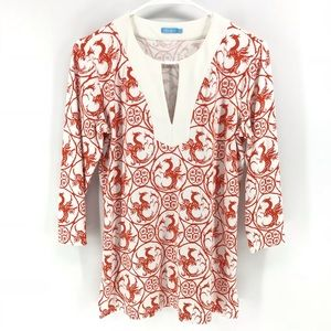 J Mclaughlin Tunic Jersey Knit Shirt Phoenix Bird